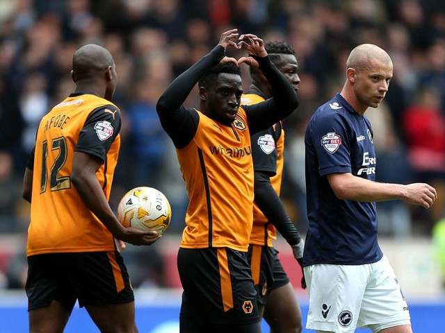 Nouha Dicko of Wolves celebrates after scoring the opening goal of the game during the Sky Bet Championship match between Wolverhampton Wanderers and Millwall at Molineux on May 2, 2015