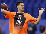 Quarterback Marcus Mariota of Oregon throws a pass during the 2015 NFL Scouting Combine at Lucas Oil Stadium on February 21, 2015