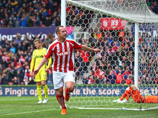 Charlie Adam of Stoke City celebrates scoring the opening goal during the Barclays Premier League match between Stoke City and Tottenham Hotspur at Britannia Stadium on May 9, 2015