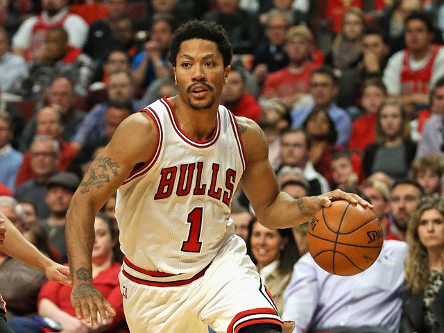 Derrick Rose #1 of the Chicago Bulls moves against the Milwaukee Bucks during the first round of the 2015 NBA Playoffs at the United Center on April 27, 2015