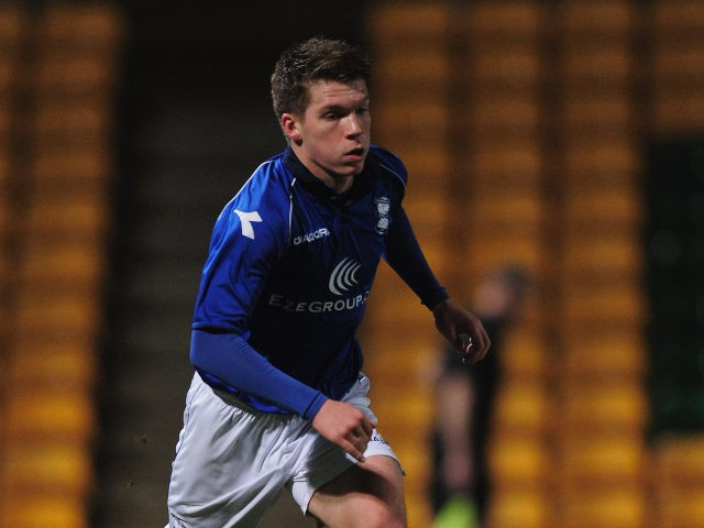 Birmingham City's James Fry carries the ball forward during an FA Youth Cup match against Norwich City on February 26, 2013