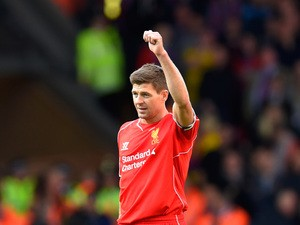 Steven Gerrard of Liverpool gestures during the Barclays Premier League match between Liverpool and Crystal Palace at Anfield on May 16, 2015