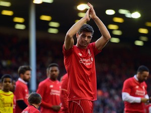 Steven Gerrard of Liverpool applauds the fans as he walks a lap of honour after his final game at Anfield during the Barclays Premier League match between Liverpool and Crystal Palace at Anfield on May 16, 2015