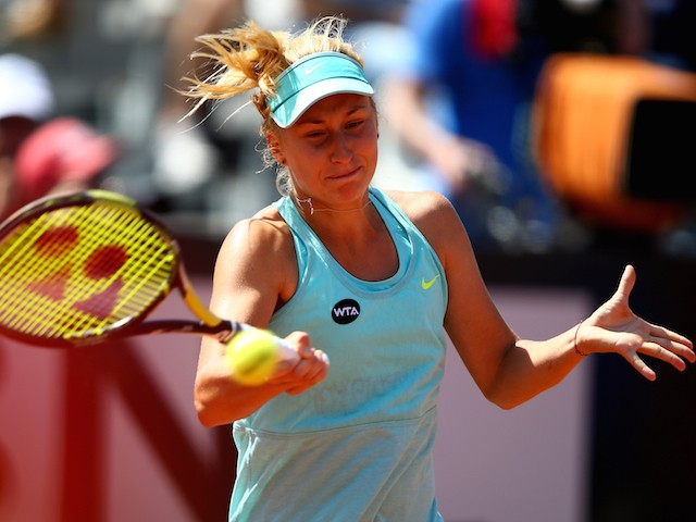 Daria Gavrilova of Russia in action during her match against Ana Ivanovic of Serbia on Day Four of the The Internazionali BNL d'Italia 2015 on May 13, 2015