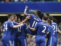 Chelsea's Ivorian striker Didier Drogba is carried off the pitch by teammates after being substituted during the English Premier League football match between Chelsea and Sunderland at Stamford Bridge in London on May 24, 2015