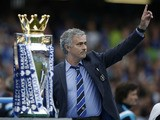 Chelsea's Portuguese manager Jose Mourinho gestures during the presentation of the Premier League trophy after the English Premier League football match between Chelsea and Sunderland at Stamford Bridge in London on May 24, 2015