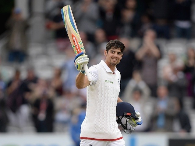 A triumphant Alastair Cook smiles to the crowd after reaching 150 on the fourth day of the First Test between England and New Zealand on May 24, 2015
