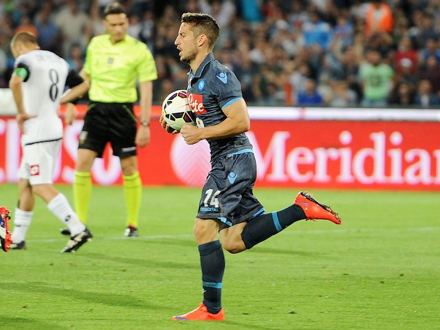 Dries Mertens of Napoli celebrates after scoring goal 1-1 during the Serie A match between SSC Napoli - AC Cesena at Stadio San Paolo on May 18, 2015