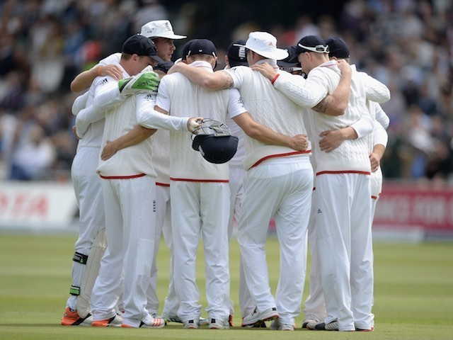 England huddle on day two of the First Test with New Zealand on May 22, 2015