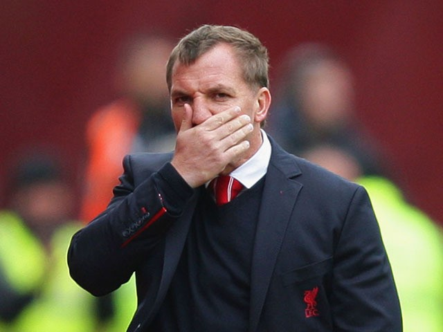 Brendan Rodgers manager of Liverpool reacts during the Barclays Premier League match between Stoke City and Liverpool at Britannia Stadium on May 24, 2015