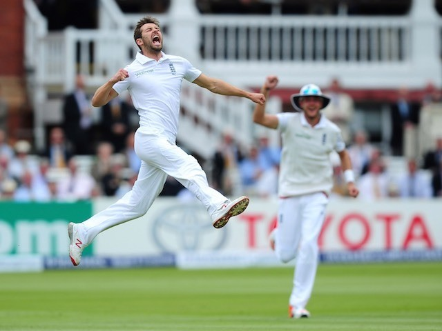 England's Mark Wood reacts to taking the wicket of Martin Guptill before being denied due to no ball on day two of the First Test with New Zealand on May 22, 2015
