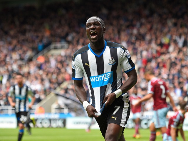 Moussa Sissoko of Newcastle United celebrates scoring his team's first goal during the Barclays Premier League match between Newcastle United and West Ham United at St James' Park on May 24, 2015