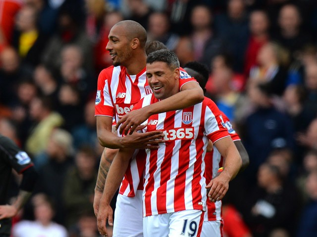Jonathan Walters of Stoke City celebrates scoring their third goal during the Barclays Premier League match between Stoke City and Liverpool at Britannia Stadium on May 24, 2015