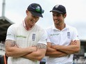 Ben Stokes and Alastair Cook having a laugh after winning the First Test with New Zealand on May 25, 2015