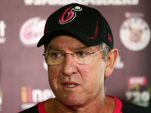 Sixers coach Trevor Bayliss speaks to the media during a Sydney Sixers Big Bash League press conference at Sydney Cricket Ground on February 4, 2014