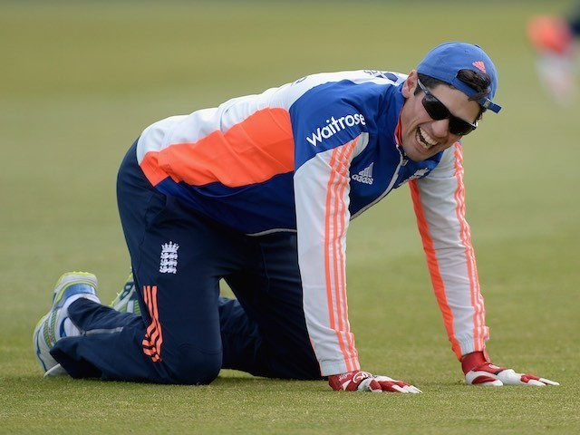 England captain Alastair Cook larking about during a nets session on May 28, 2015