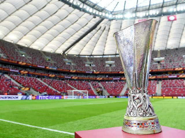 A shot of the UEFA Europa League trophy before the final between Dnipro and Sevilla in Warsaw on May 27, 2015