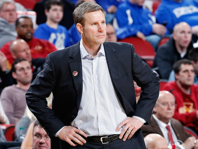 Head coach Fred Hoiberg gestures against the UAB Blazers during the second round of the 2015 NCAA Men's Basketball Tournamenat at the KFC YUM! Center on March 19, 2015