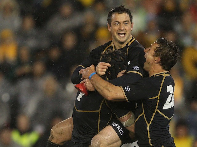 Greig Laidlaw of Scotland celebrates kicking the winning penalty during the International Test match between the Australian Wallabies and Scotland at Hunter Stadium on June 5, 2012
