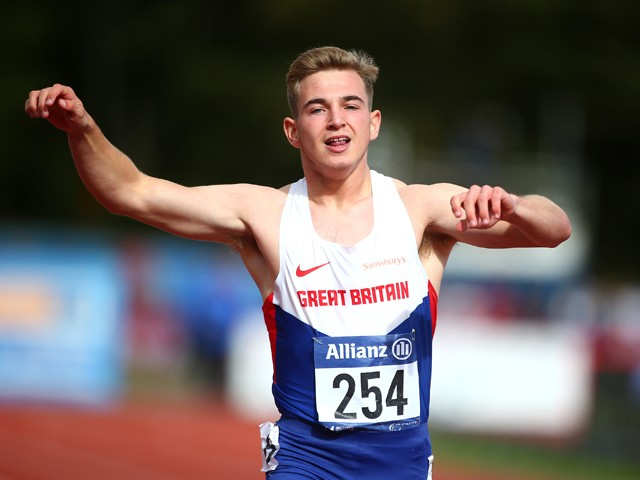 Jordan Howe of Great Britain celebrates after coming third in the mens 200m T35 final during day three of the IPC Athletics European Championships at Swansea University Sports Village on August 21, 2014