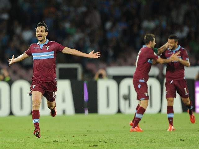 Marco Parolo of Lazio celebrates after scoring goal 1-0 during the Serie A match between SSC Napoli and SS Lazio at Stadio San Paolo on May 31, 2015