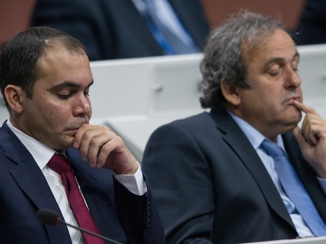 Prince Ali and Michel Platini look bored during the 65th FIFA Congress on May 29, 2015