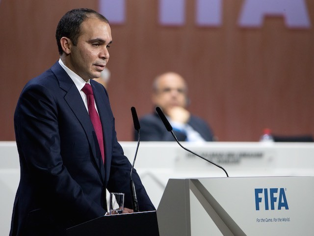 Prince Ali delivers his speech ahead of the FIFA presidency vote on May 29, 2015