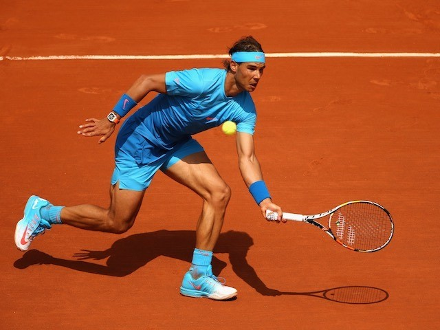 Rafael Nadal in action on day three of the French Open on May 26, 2015
