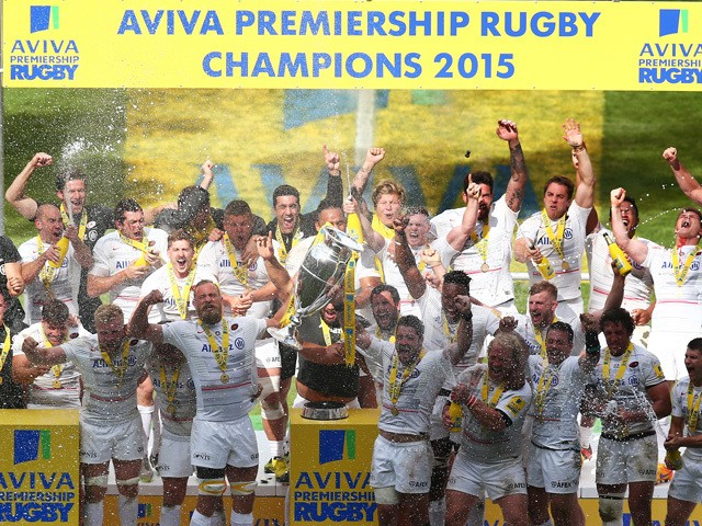 Saracens captain Alistair Hargreaves lifts the Aviva Premiership trophy following his team's 28-16 victory during the Aviva Premiership Final between Bath Rugby and Saracens at Twickenham Stadium on May 30, 2015