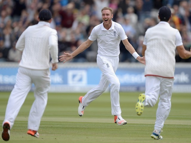 Stuart Broad celebrates taking the wicket of Tom Latham on day five of the First Test between England and New Zealand on May 25, 2015