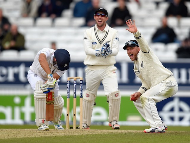 Luke Ronchi and Brendon McCullum appeal for the wicket of Alastair Cook during day five of the Second Test between England and New Zealand on June 2, 2015