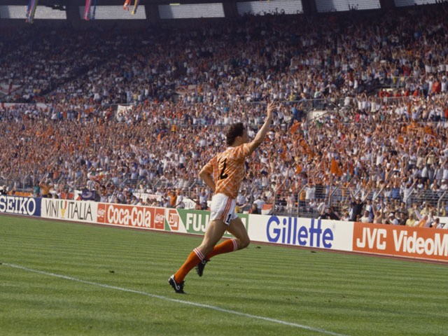 Dutch footballer Marco van Basten having scored the first of his three goals against England during a European Championship match in Dusseldorf, 15th June 1988