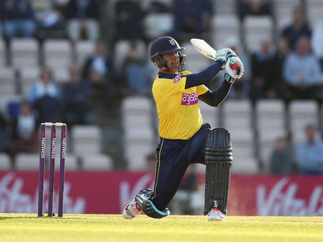 Owais Shah of Hampshire hits out during the NatWest T20 Blast match between Hampshire and Middlesex at the Ageas Bowl on June 4, 2015