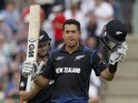 New Zealand's Ross Taylor celebrates reaching a century not out during the third one-day international (ODI) cricket match between England and New Zealand at The Ageas Bowl cricket ground in Southampton on June 14, 2015