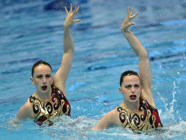 Genevieve Randall and Jodie Cowie of Great Britain perform their routine in the duet free routine final during day three of the Synchro Japan Open 2015 at Tokyo Tatsumi International Swimming Pool on May 4, 2015