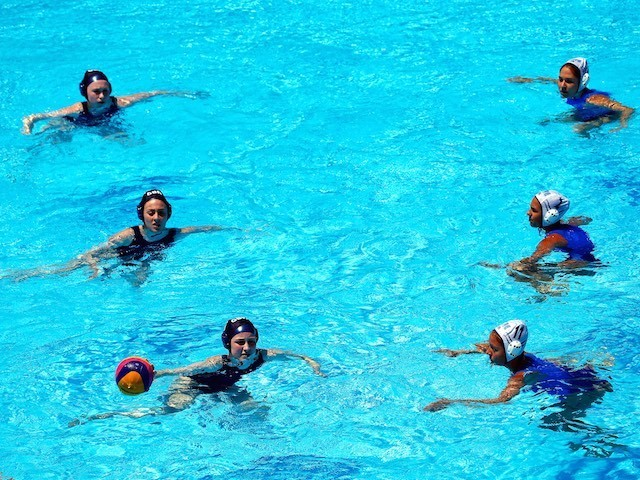 Team GB and Greece face off in the women's water polo prelim at the European Games in Baku on June 12, 2015