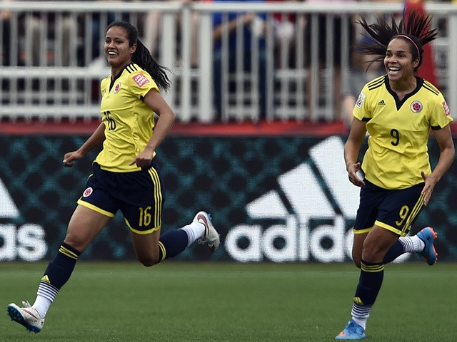 Colombia's forward Lady Andrade celebrates her goal during a Group F match at the 2015 FIFA Women's World Cup between France and Colombia at Moncton Stadium, New Brunswick on June 13, 2015
