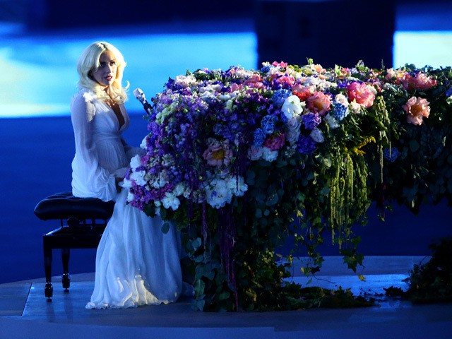 Singer Lady Gaga performs during the Opening Ceremony for the Baku 2015 European Games at the Olympic Stadium on June 12, 2015