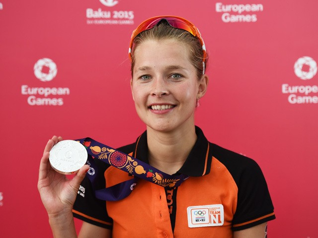 Silver medalist Rachel Klamer of Netherlands poses with her medal following the Women's Triathlon Final during day one of the Baku 2015 European Games at Bilgah Beach on June 13, 2015