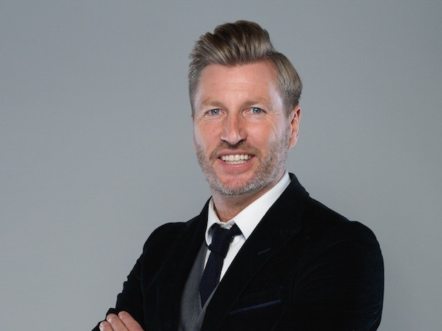 Robbie Savage poses for a BT Sport photo at the launch of their European football coverage on June 9, 2015