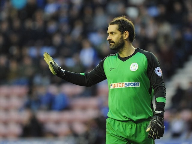 Scott Carson of Wigan Athletic during the Championship match against Middlesbrough on November 22, 2014