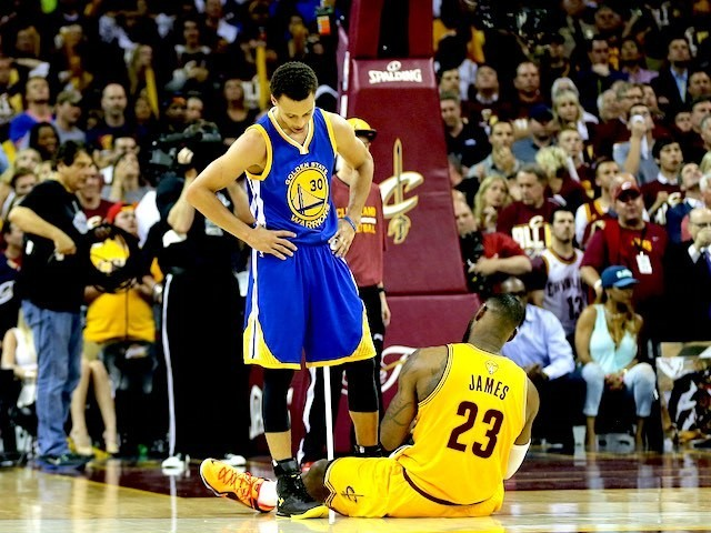 Stephen Curry of the Golden State Warriors and Cleveland Cavaliers' LeBron James during game three of the NBA Finals on June 9, 2015