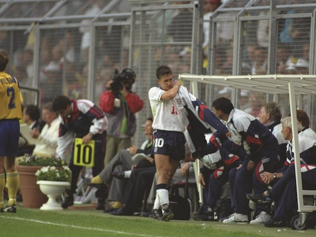 Gary Lineker (centre) of England is taken off the field early in his final game for England during the European Championships match against Sweden. Sweden won the match 2-1 in Englands final Group game June 17, 1992
