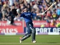 Jonny Bairstow shows his delight after hitting the winning runs in the fifth ODI between England and New Zealand at Chester-le-Street on June 20, 2015
