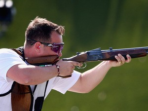 Steven Scott of Great Britain shoots in the Men's Double Trap Shooting final during day seven of the Baku 2015 European Games at the Baku Shooting Centre on June 19, 2015