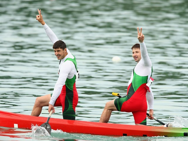 Andrei Bahdanovich and Aliaksandr Bahdanovich of Belarus celebrate after winning the Final Canoe Double (C2) 1000m Men during day three of the Baku 2015 European Games at Mingachevir on June 15, 2015