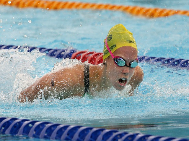 Brittany Elmslie of Australia in action before winning the women's 100m butterfly race on day one at the Aquatic Super Series swimming competition in Perth on January 30, 2015