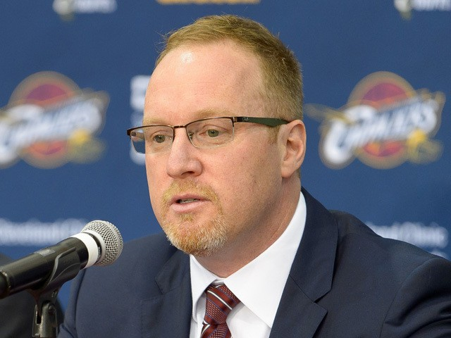 David Griffin of the Cleveland Cavaliers answers questions during media day at Cleveland Clinic Courts on September 26, 2014