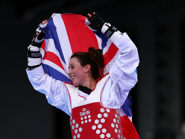 Jade Jones flies the flag for Great Britain after winning gold in the women's -57kg at the European Games in Baku