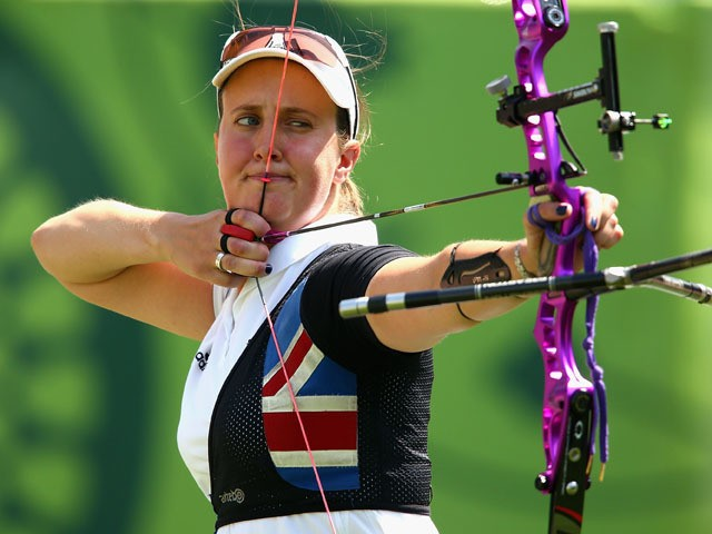 Nicky Hunt of Great Britain competes against Naomi Folkard of Great Britain in the Archery Women's Individual 1/32 Elimination during day seven of the Baku 2015 European Games at the Tofiq Bahramov Stadium on June 19, 2015